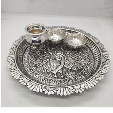 dancing peacock motif aarta set in hallmarked silv... by Puran Ornaments