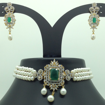 White, GreenCZ And Pearls ChokerSet With 3Line FlatPearls Mala JPS0550