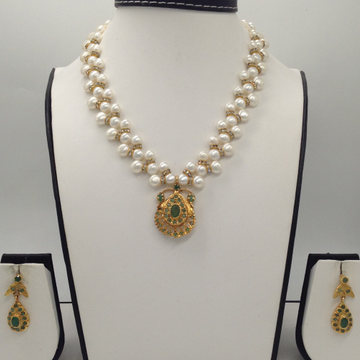 Green Emeralds Jugni Pendent Set With Button ZigZa...