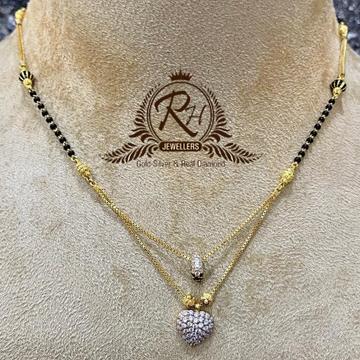 22 carat gold latest daimond heard shape ladies mangalsutra RH-MS692