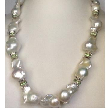 Freshwater White Drops Baroque Pearls Mala with CZ Chakri