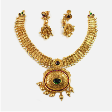 916 Gold Designer Bridal Necklace set RHJ-0007