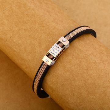 18KT Rose Gold Hallmark Delicate Leather Gent's Bracelet MLB250