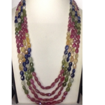 Natural Multi Colour Sapphires Oval Faceted Beeds 4 Layers Necklace