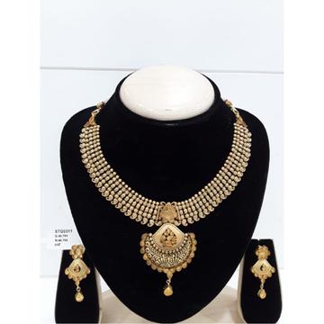 916 Gold Antique Kundan Jewellery Necklace Set VJ-N008