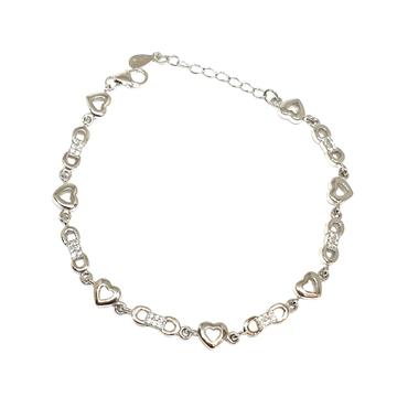925 Sterling Silver Heart Shape Bracelet MGA - BRS1766