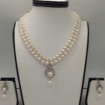 White CZ And Pearls PendentSet With 2Line ButtonJali Pearls Mala JPS0240