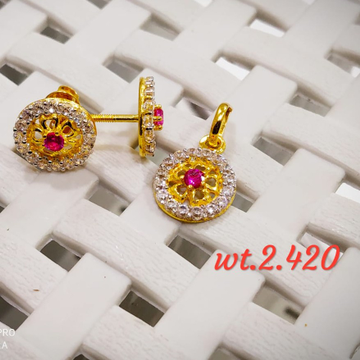 22KT Gold CZ Ruby Come Flower  Pendent Set for Women