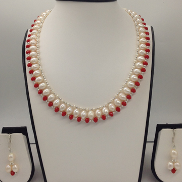 "Freshwater White Oval Pearls And Corals ""U"" Jaali Necklace Set JPP1031"