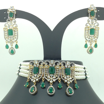 White and green cz choker set with 4 line flat pea...