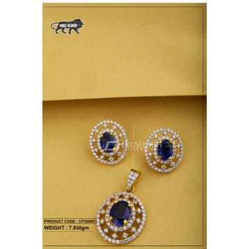 22 Carat 916 Gold ladies colour stone pendent set blue cpg0007