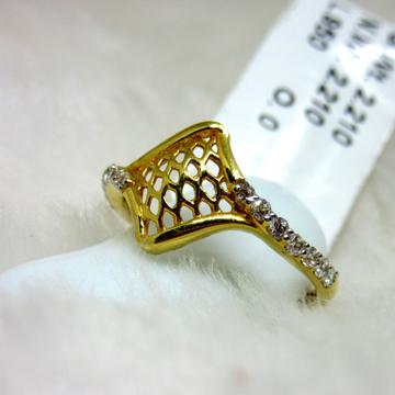 Gold delicate rhombus french v split ring