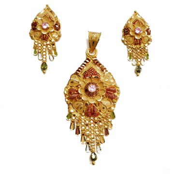 22k Gold Pink Diamond Flower Shape Pendant Set MGA - GPS007