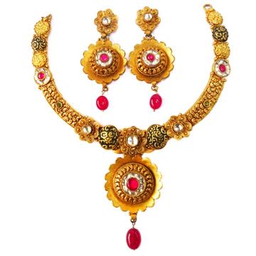 1 gram gold forming antique necklace set mga - gfn006