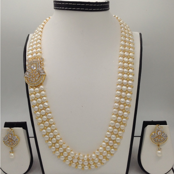 White CZ BroachSet With 3Line ButtonJali Pearls Mala JPS0192