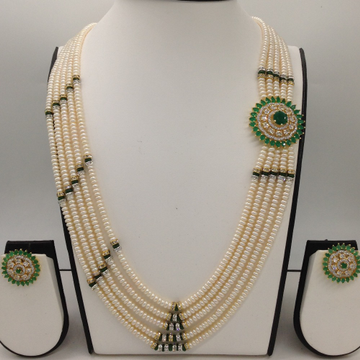 White and greencz broochset with 5lines flatpearls mala jps0473