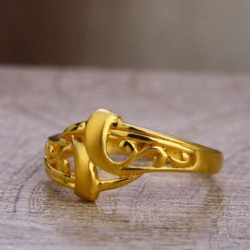 750 Plain Gold Women's Delicate Hallmark Ring Lpr4...