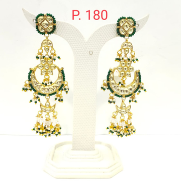 Wedding Gold plated Moon Shape Green Earring with Pearl 1507