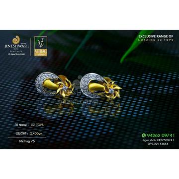 18kt Designer Gold Cz Fancy Ladies Tops ATG -0461