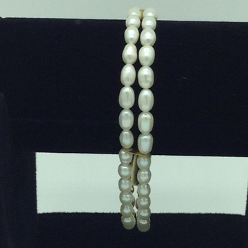 White Oval Pearls 2 Layers Bracelet JBG0119