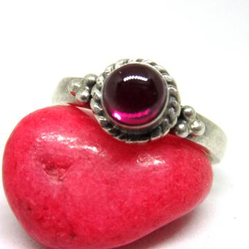 Silver  925 dark pink stone ring sr925-248