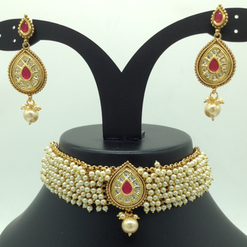 White, Red Kundan and Pearls Jali Choker Set JNC01...