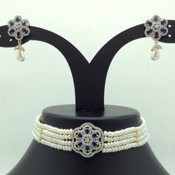 White and blue cz choker set with 4 line flat pear...