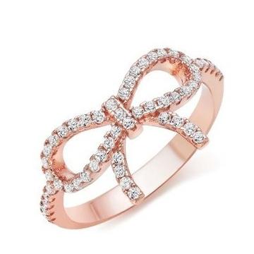 22kt gold and diamond studded bow design ring for women jkr003