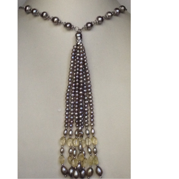 Freshwater Grey Potato Pearls Fancy Silver Necklace With Oval Citrine Beeds