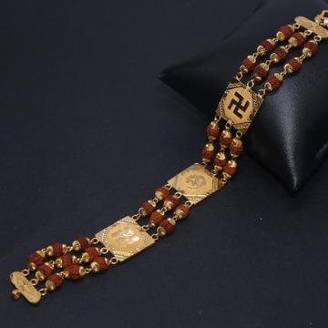 22k hallmarked rudraksha bracelet with om and swas... by Simandhar Jewellers