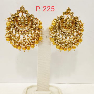 Wedding kundan work Gold plated Pearl Earring 1713