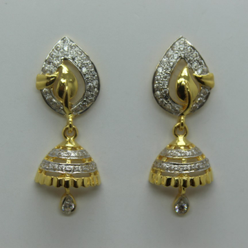 22k cz diamond gold earrings