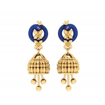916 gold designer peacock design jummar earring pj-e012