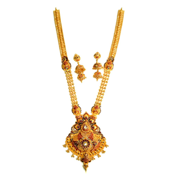 22k Gold Kalkatti Meenakari Long Necklace Set MGA - GLS013
