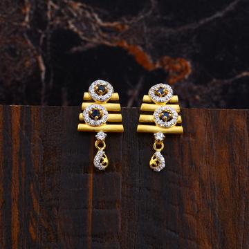 Ladies 916 Gold Cz Earrings-LFE124