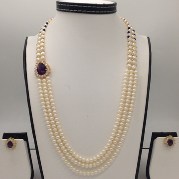 White And Purple CZ BroachSet With 2Line ButtonJali And 3 Line Flat Pearls Mala JPS0360