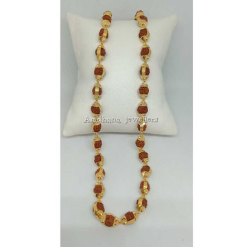 22KT Gold Designer Red Beaded Rudraksha Mala