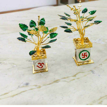 92.5 Sterling Silver Om Sathiya 2(Two) Tone Ganga Jamna Silver Gold Colourfull Tulsi Kyara Ms-2694
