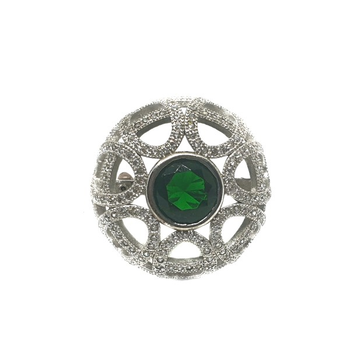 925 Sterling Silver Round Shaped Green Stone Ring...