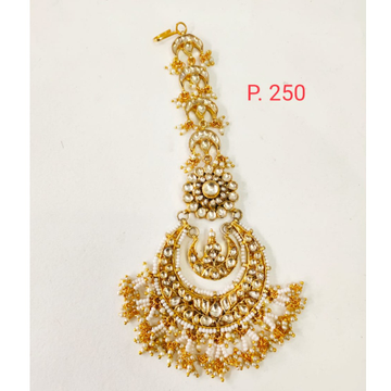 Gold plated wedding polki mang tikka 1271