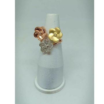 18KT Tri Colored Flower Shape Rose Gold Ladies Ring
