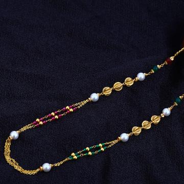 Ladies 916 Gold Designer Moti Chain Mala-AC83