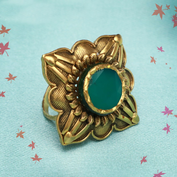 916 Gold Antique Green Stone ring PJ-R004