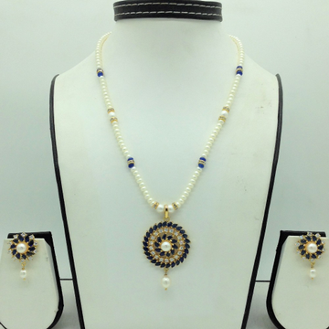 White,Blue CZPendentSet With 1Line FlatPearls...