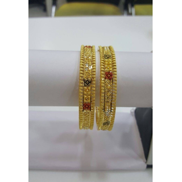 916 Gold Classic 2 Pc Bangle Set RH-B005