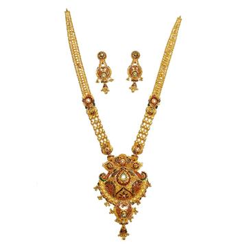 916 Gold Kalkatti Designer Necklace Set MGA - GLS035