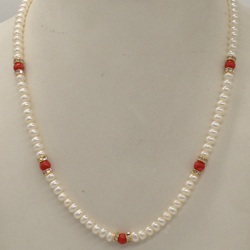 Freshwater White Flat Pearls Single Layer Mala With CZ Golden Chakri And Coral Semi Beeds JPM0348