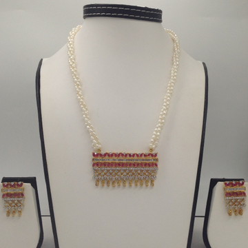White And Red CZ PendentSet With 3Line RicePearls Mala JPS0549
