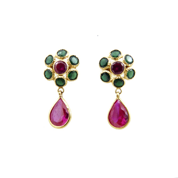 18K Gold Colour Stone Earring by