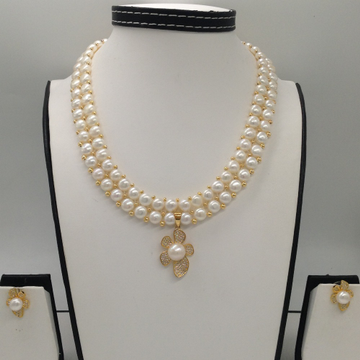 White CZ And Pearls PendentSet With 2Line ButtonJali Pearls Mala JPS0242